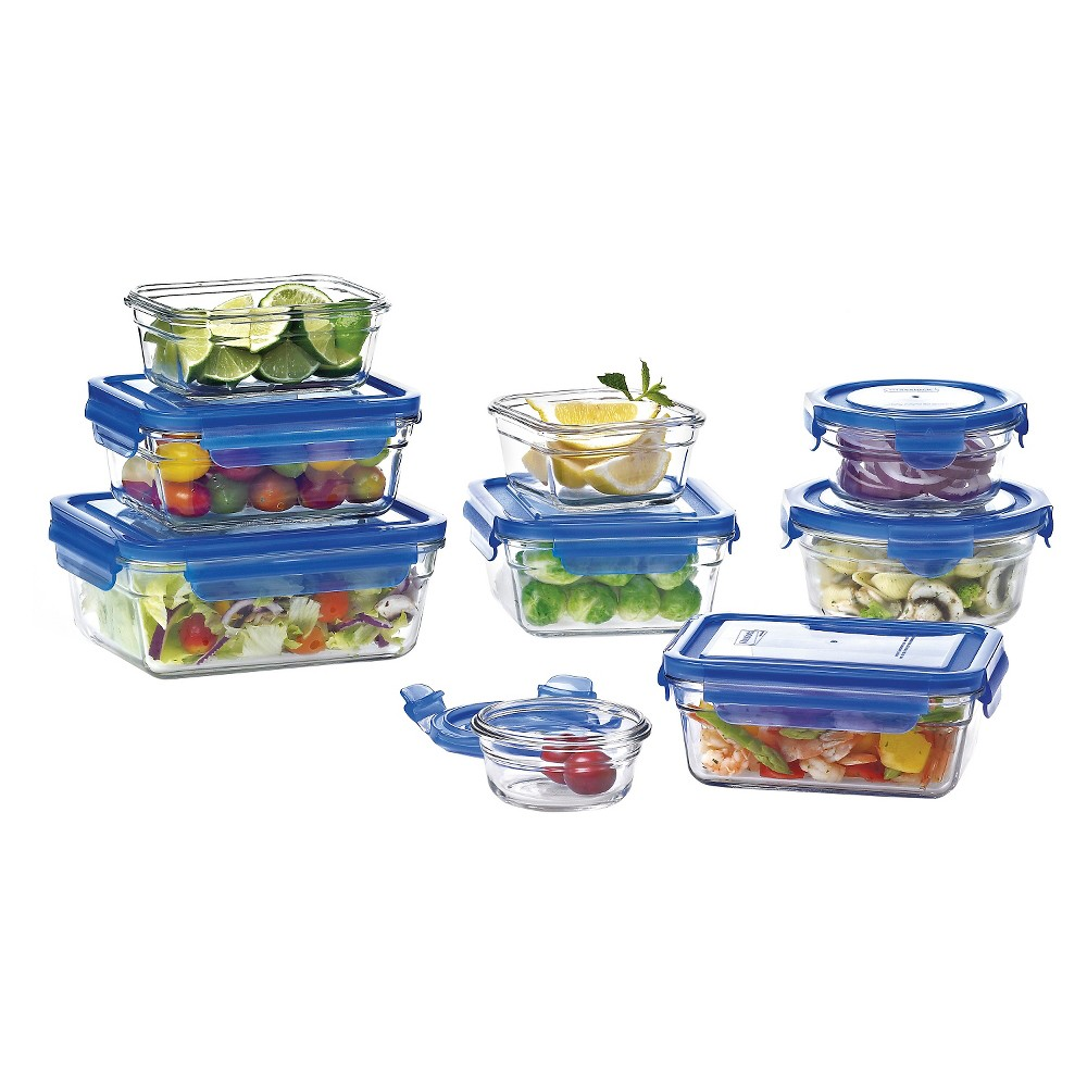 Glasslock 18-Piece Assorted Glass Storage Box Set, Light Clear