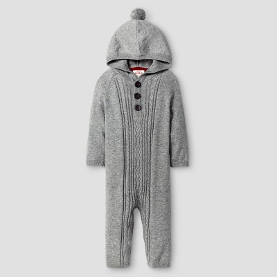 Baby Boys' Long-sleeve Cable Front Hooded Sweater Coverall Cat & Jack™ - Heather Grey 3-6M