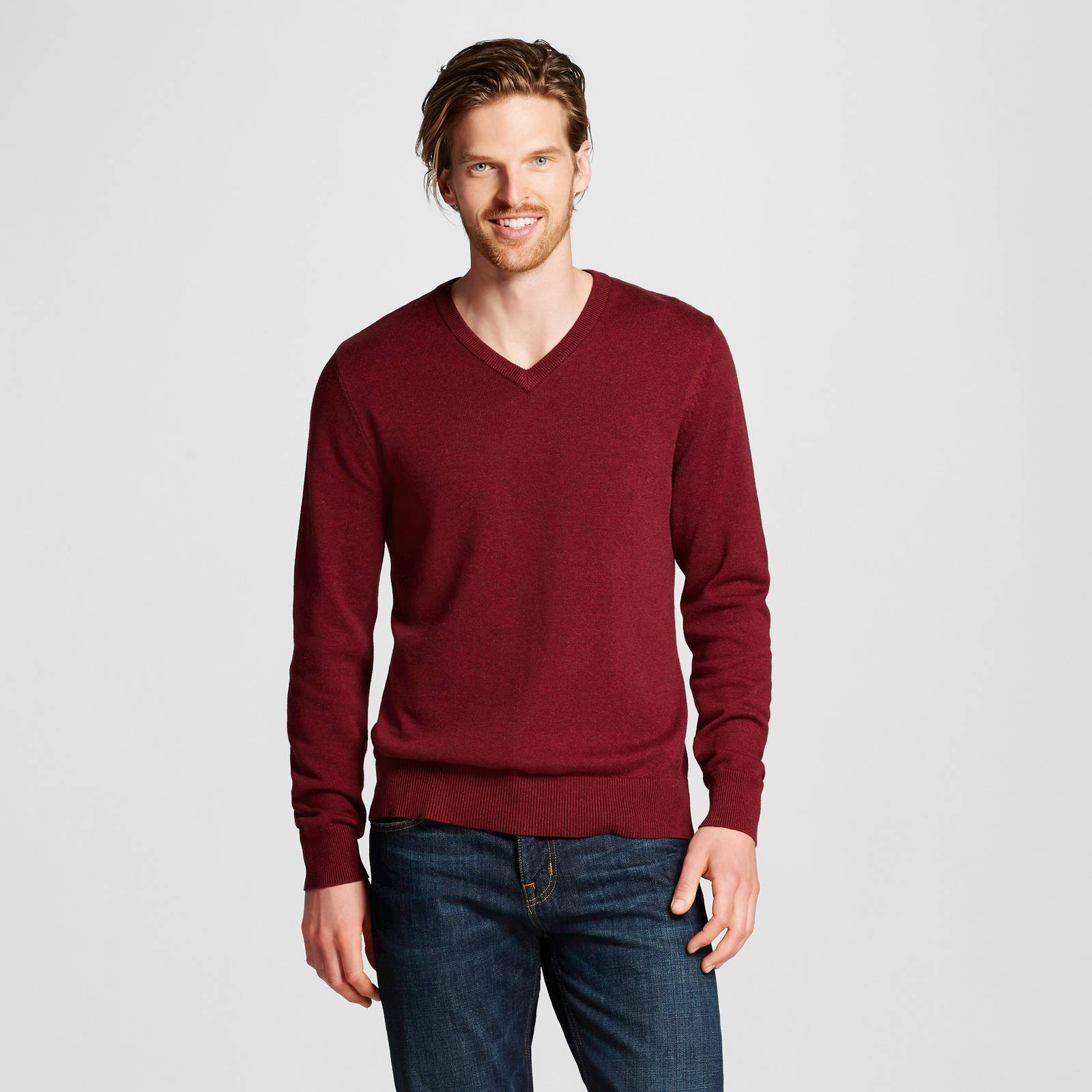 Merona Mens Sweater Red Pop Long Sleeve V Neck Pullover Large L | eBay