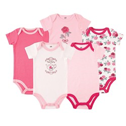 Luvable Friends Baby Girls' 5 Pack Bodysuits - Roses