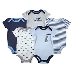 Luvable Friends Baby Boys' 5 Pack Bodysuits - Airplane
