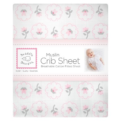 SwaddleDesigns® Cotton Muslin Crib Sheet - Posies - Pastel Pink