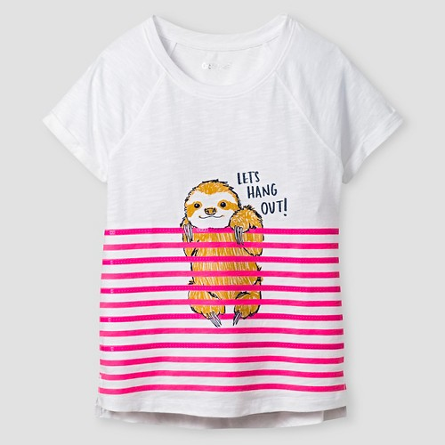 Girls' Cute Animal Graphic Tee Cat & Jack - White M, Girl's