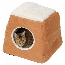 House of Paws Faux Suede/Sheepskin 2-in-1 Cat Bed - Tan
