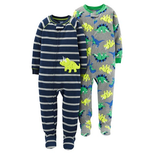 Just One YouMade by Carter's Boys' 2 Pack Dino Stripe Blanket Fleece Footed Sleepers 5T, Toddler Boy's, Yellow