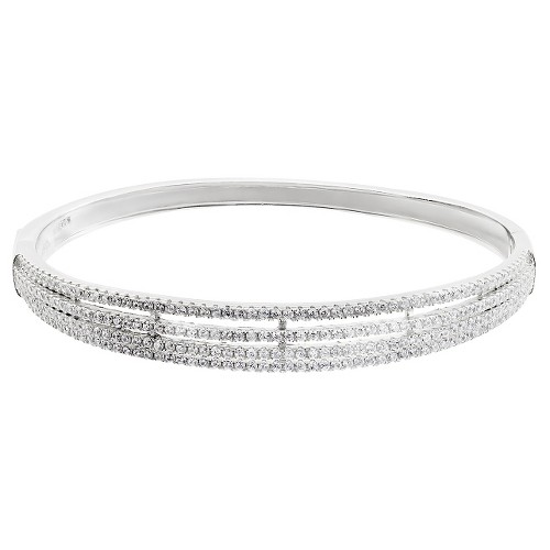 2 2/5 CT. T.W. Round-cut CZ Split Band Bangle Pave Set Bracelet in Sterling Silver - Silver, Women's