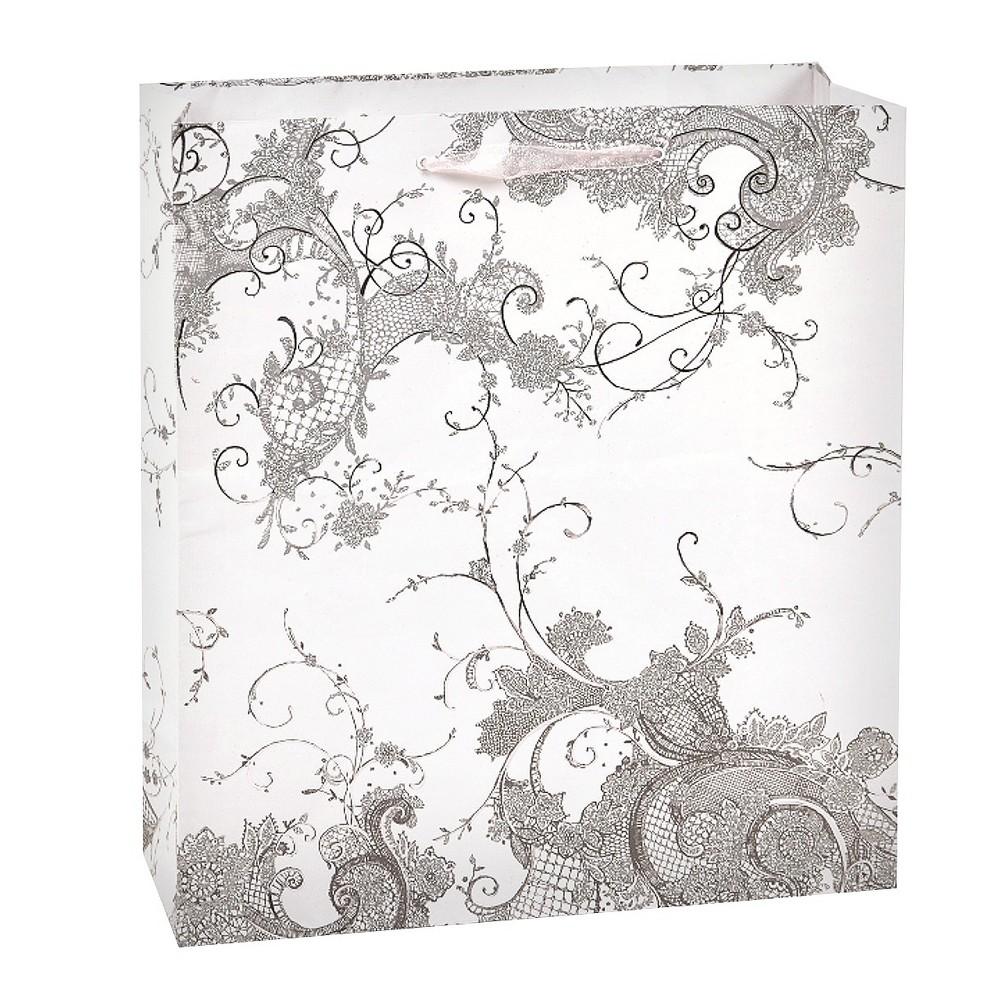 Papyrus Vintage Lace Gift Bag,  Shiney Silver plus size,  plus size fashion plus size appare