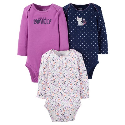 Just One You™ Made by Carter's® Baby Girls' 3pk Long Sleeve Fox Bodysuit Set - Plum 3M