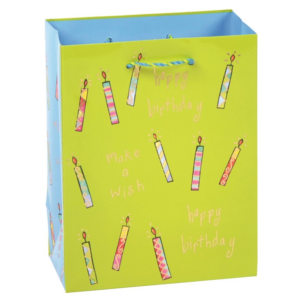 Papyrus Patterned Candles Gift Bag, Lite Lime