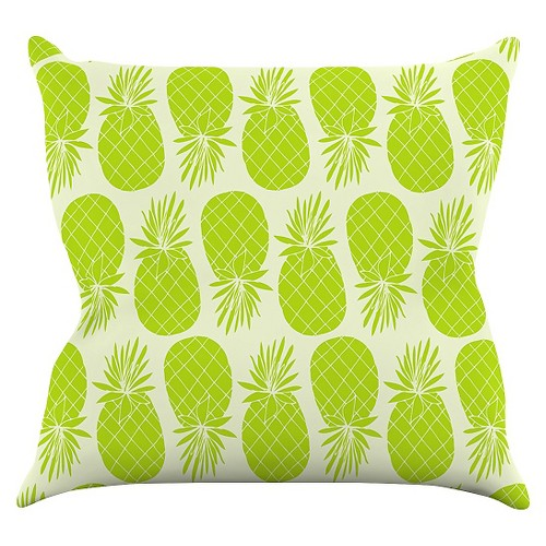 'Lime Anchobee ''Pinya Lime'' Throw Pillow (16''x16'') - Kess InHouse, Off-White Green'