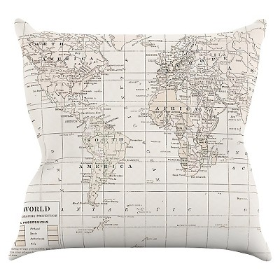 Light Off-White Catherine Holcombe  The Old World Cream  Throw Pillow (16 x16 )- KESS InHouse