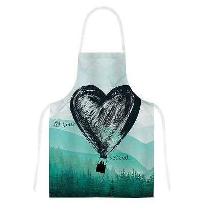 Cooking Apron Nick Atkinson  Heart Set Sail  Teal/Black (31  X 36 )- Kess Inhouse