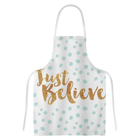 "Cooking Apron Nick Atkinson ""Just Believe"" Gold/White (31"" X 36"") - Kess Inhouse - image 1 of 1"