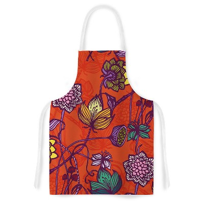Cooking Apron Gill Eggleston  Garden Blooms Hot Orange  Red (31  X 36 )- Kess Inhouse