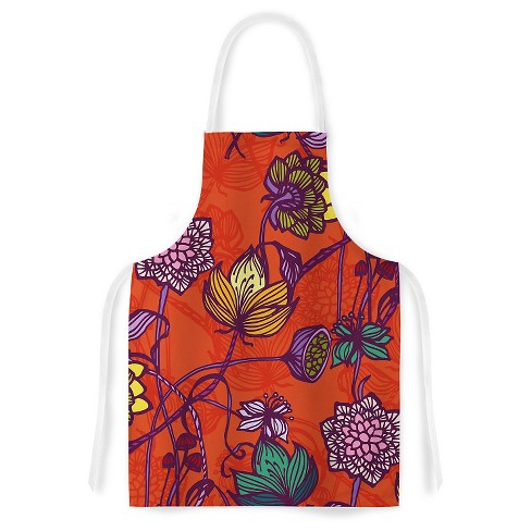 "Cooking Apron Gill Eggleston ""Garden Blooms Hot Orange"" Red (31"" X 36"") - Kess Inhouse - image 1 of 1"