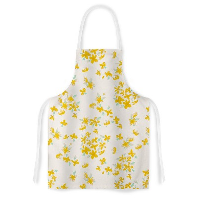 Cooking Apron Gukuuki  Kashmir Garden  Yellow/White (31  X 36 )- Kess Inhouse