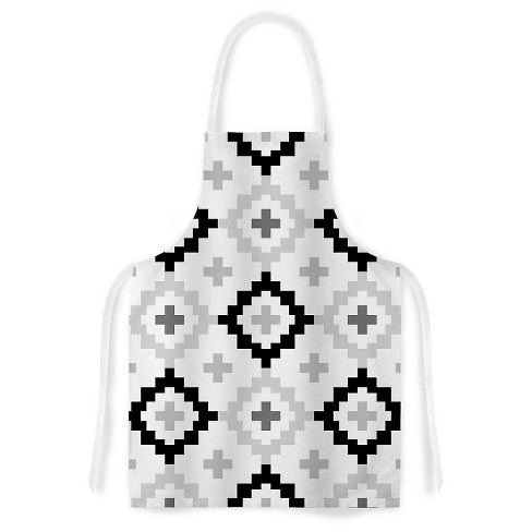 "Cooking Apron Pellerina Design ""Black White Moroccan"" Gray/White (31"" X 36"") - Kess Inhouse - image 1 of 1"