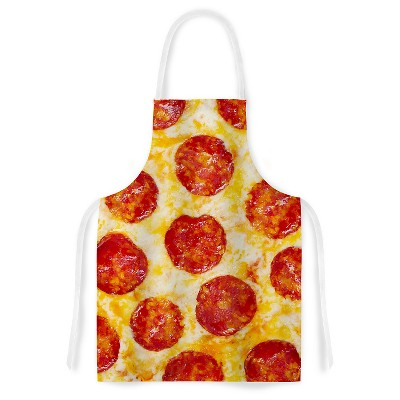 Cooking Apron Kess Original  Pizza My Heart  Yellow/Red (31  X 36 )- Kess Inhouse