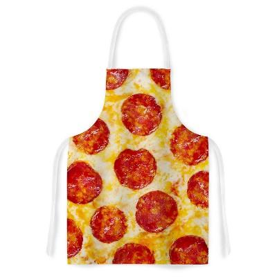 Cooking Apron Kess Original  Pizza My Heart  Yellow/Red (31  X 36 )- Kess Inhouse