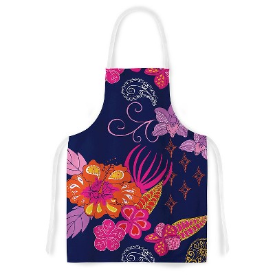Cooking Apron Anneline Sophia  Tropical Paradise  Pink/Purple (31  X 36 )- Kess Inhouse