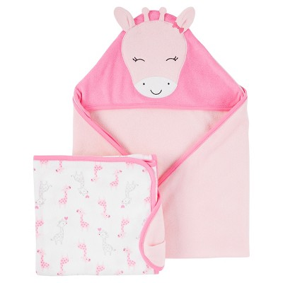 Baby Girls' 2pk Giraffe Towels - Just One You™ Made by Carter's® Pink