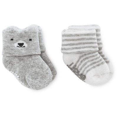 Just One You™ Made by Carter's® Baby Boys' 2pk Bear/Stripe Socks - Gray 0-6M