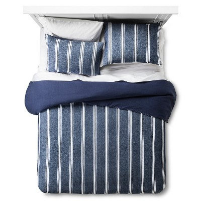 Denim Blue Linen Yarn-Dye Stripe Duvet Cover Set (Queen)- 3-pc
