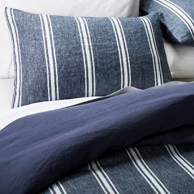 linen yarndye stripe duvet cover set the industrial shop