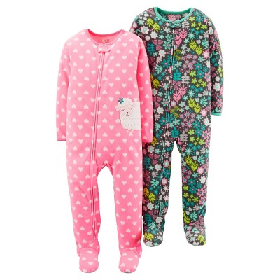 Toddler Girls' 2pk Sheep Blanket Fleece Footed Sleepers - Just One You™ Made by Carter's® Pink Floral 12M