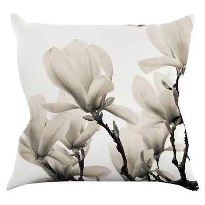 Light Cream Iris Lehnhardt  Magnolia Blossoms  Throw Pillow (16 x16 )- KESS InHouse