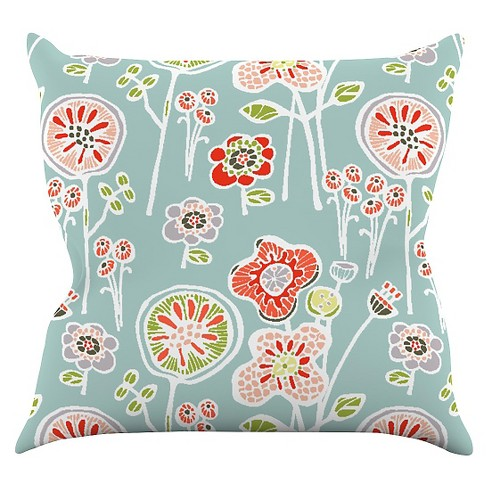 Gill Eggleston Folky Floral Light Jade Throw Pillow - KESS InHouse - image 1 of 1