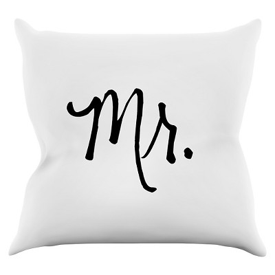 KESS Original  Mr. White  White Throw Pillow (16 x16 )- KESS InHouse