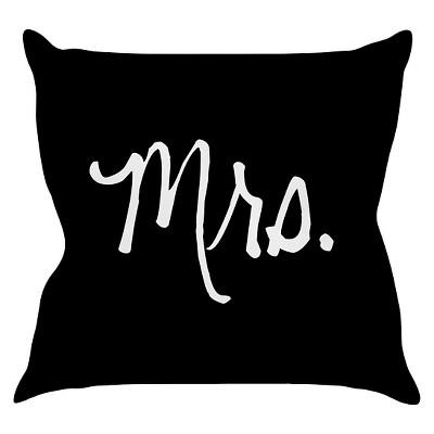 Black Mrs. Throw Pillow (16 x16 )- KESS InHouse