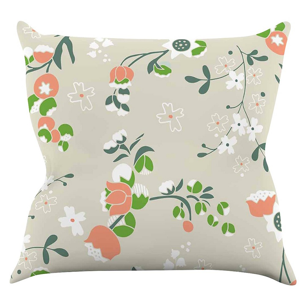 "Beige Nude Very Sarie """"Early Waking"""" Throw Pillow (16""""x16"""") - Kess InHouse, Green Pink Beige"