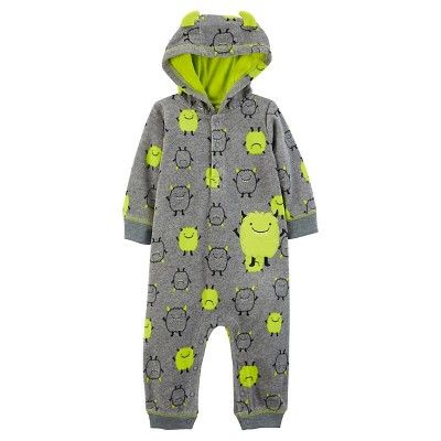 Just One You™ Made by Carter's® Baby Boys' Hooded Monster Jumpsuit - Gray/Lime 12M