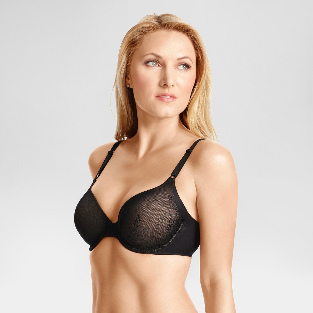 Simply Perfect by Warners Womens Underarm Smoothing Underwire Lift with Lace Bra RD0561T - Black 38D