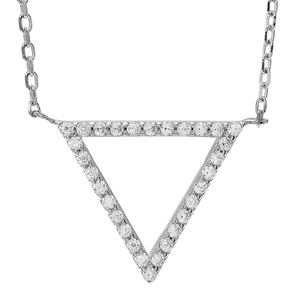 1/3 CT. T.W. Round-cut CZ Pave Set Accent Triangle Pendant Necklace in Sterling Silver - Silver (18), Womens