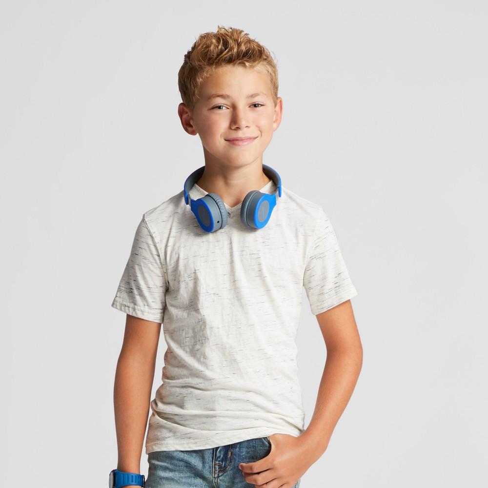Boys Heathered V-Neck T-Shirt - Cat & Jack Sour Cream/ White L, Spur Cream/White