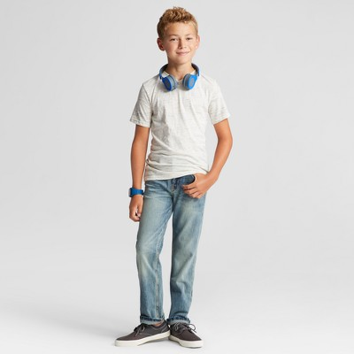 Boys' Heathered V-Neck T-Shirt Cat & Jack - Sour Cream/ White L, Boy's, Spur Cream/White