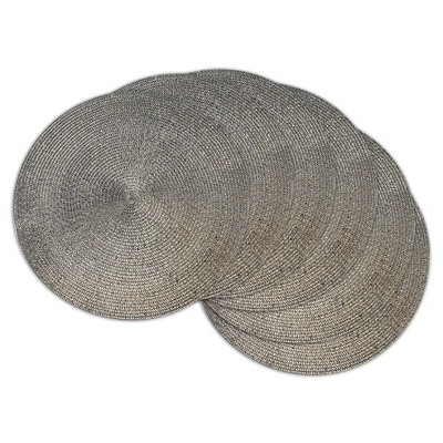 silver Metallic Round Woven Placemats (Set Of 6)- Design Imports