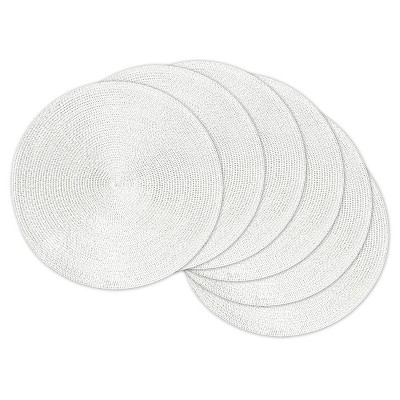 White Metallic Round Woven Placemats (Set Of 6)- Design Imports