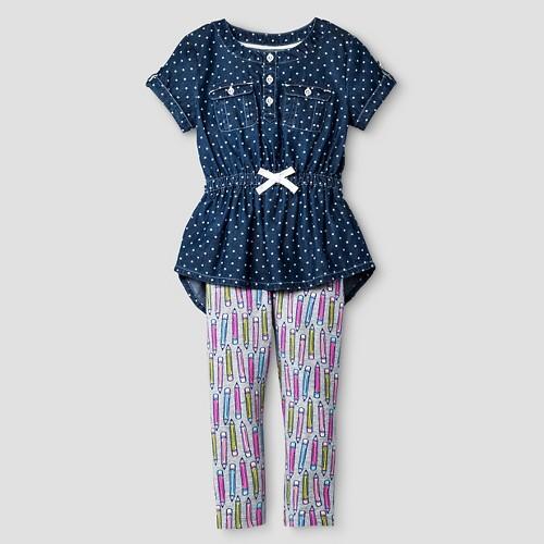 Toddler Girls' Denim Top and Bottom Set Cat & Jack - Blue 2T, Toddler Girl's