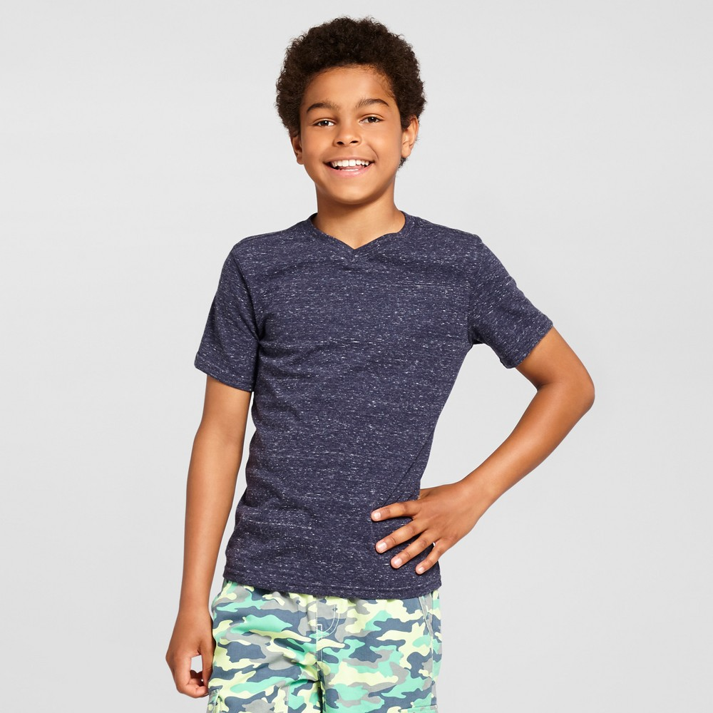 Boys Heathered V-Neck T-Shirt Cat & Jack - Navy (Blue) L
