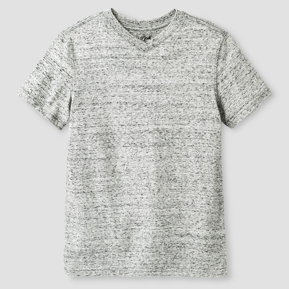 Boys' Heathered V-Neck T-Shirt - Cat & Jack, Size: Medium, Gray