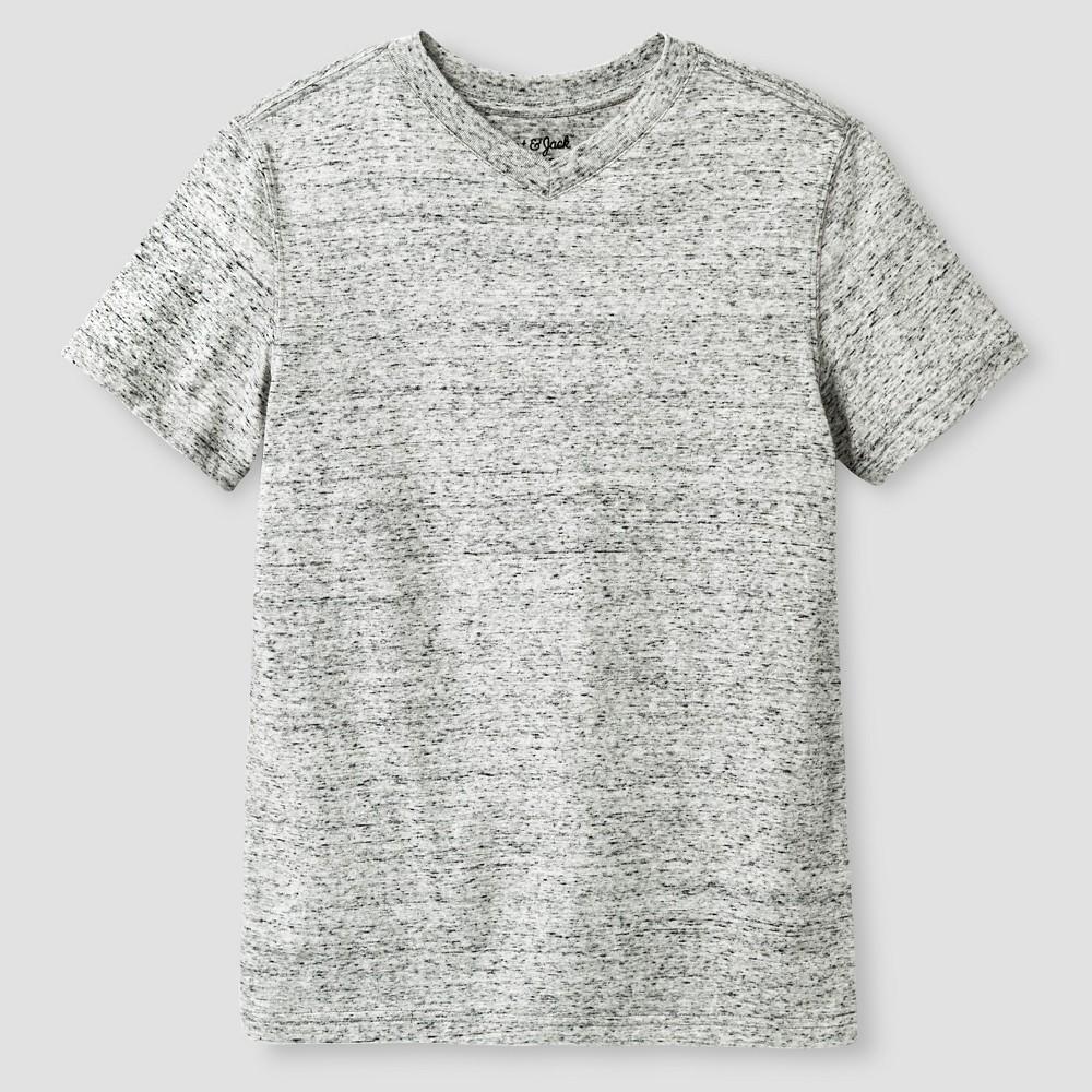 Boys Heathered V-Neck T-Shirt - Cat & Jack, Size: Large, Gray