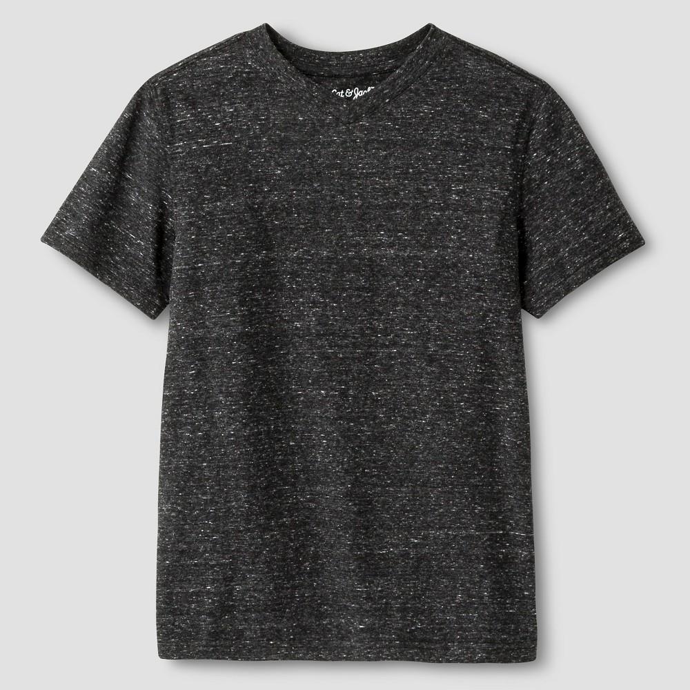 Boys Heathered V-Neck T-Shirt - Cat & Jack, Size: Large, Black