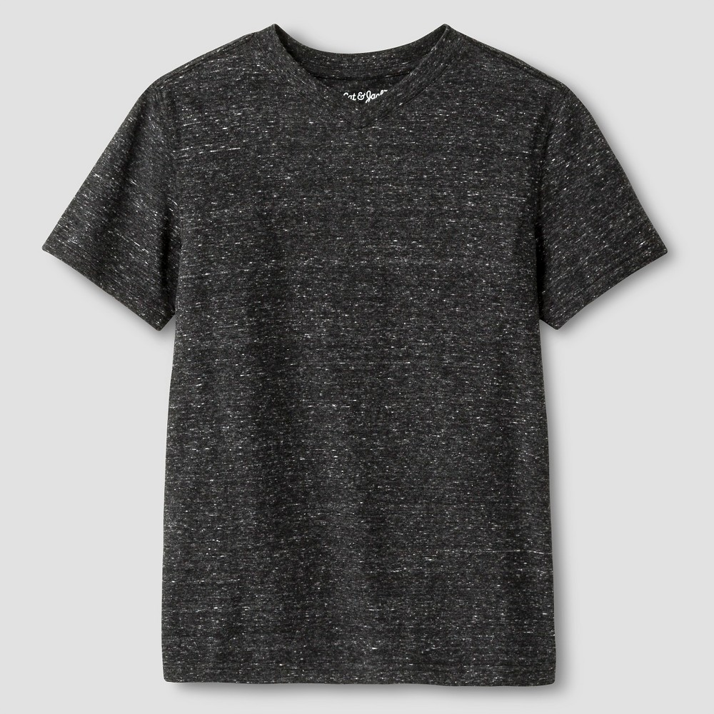Boys' Heathered V-Neck T-Shirt - Cat & Jack Black XL
