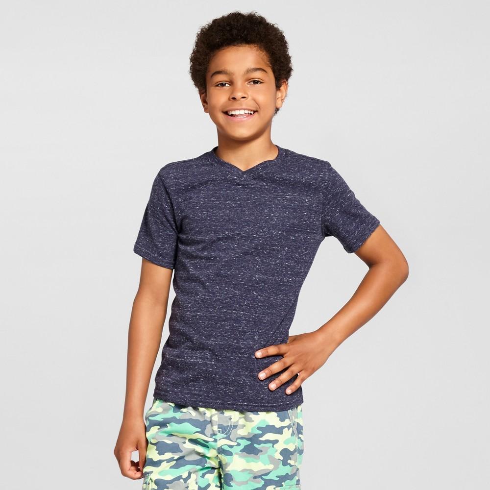 Boys Heathered V-Neck T-Shirt - Cat & Jack, Size: Medium, Blue