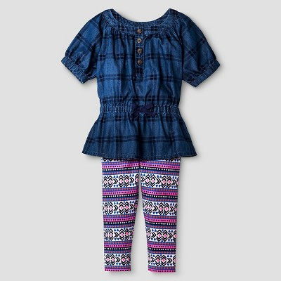 Baby Girls' Raglan Denim Top and Bottom Set - Cat & Jack™ Dark Blue 18M