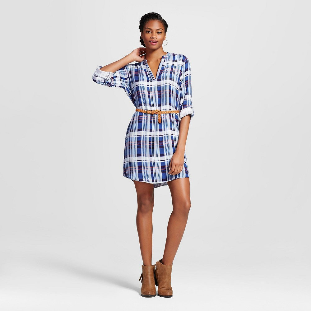 Womens Plaid Belted Popover Shirt Dress - Almost Famous (Juniors) Navy (Blue) M
